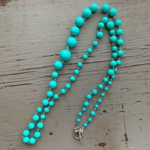 Fossil Long Blue Beaded Necklace